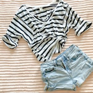 We the Free stripe lightweight short sleeve top
